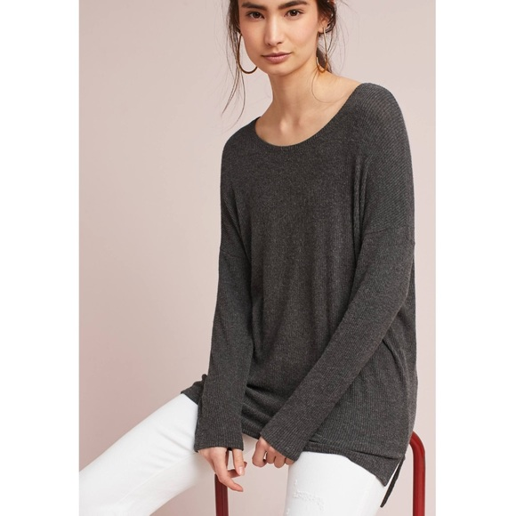 8247d2073d64d Anthropologie Tops   Nwt Soft Gray Ribbed Boatneck Tunic   Poshmark